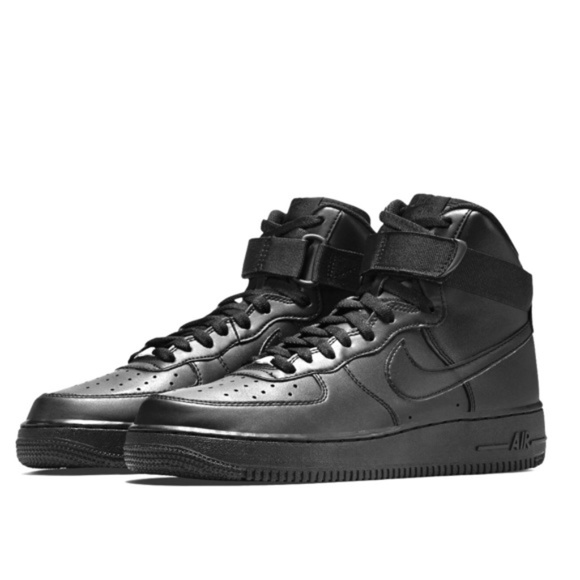 Black high top Nike Air Force one shoes size 8